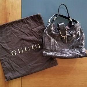 Gucci Soft Stirrup Python Medium Purple To…